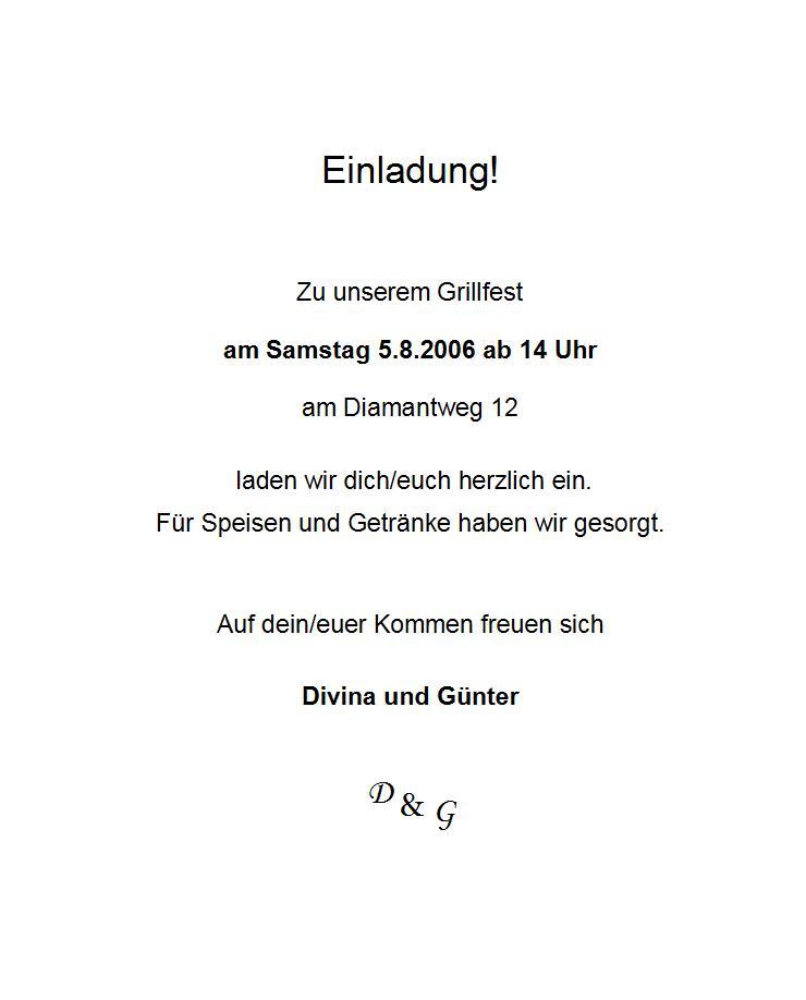 events 2006, Einladung